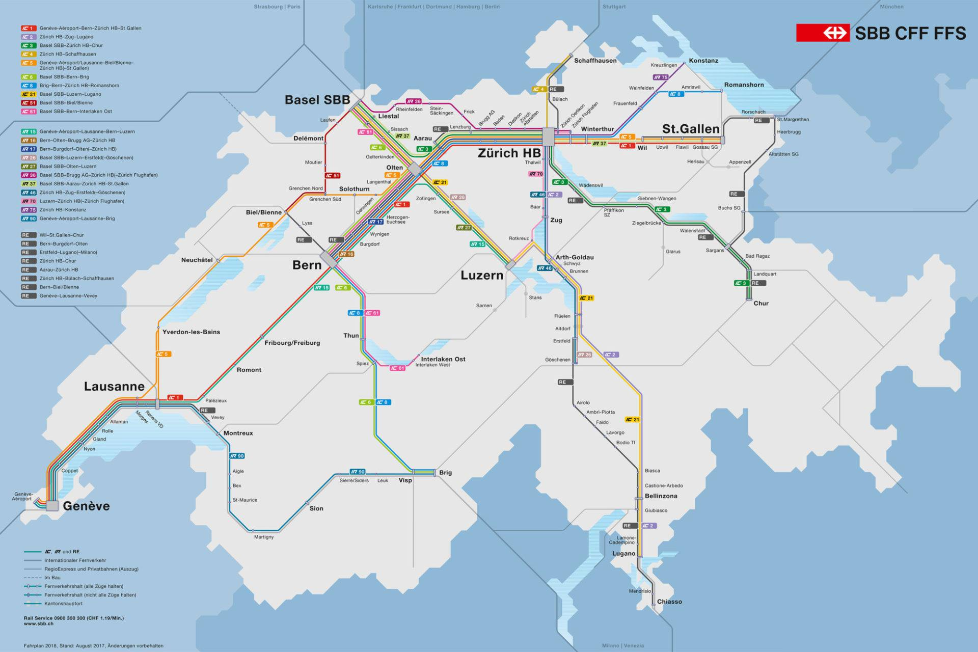 SBB IC route map