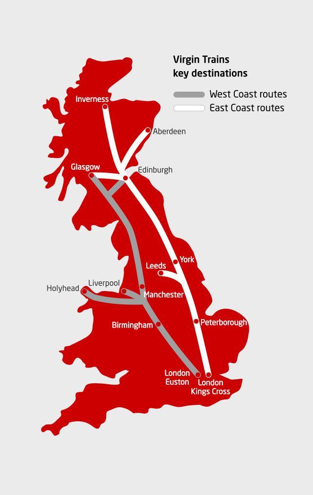 Virgin train route map