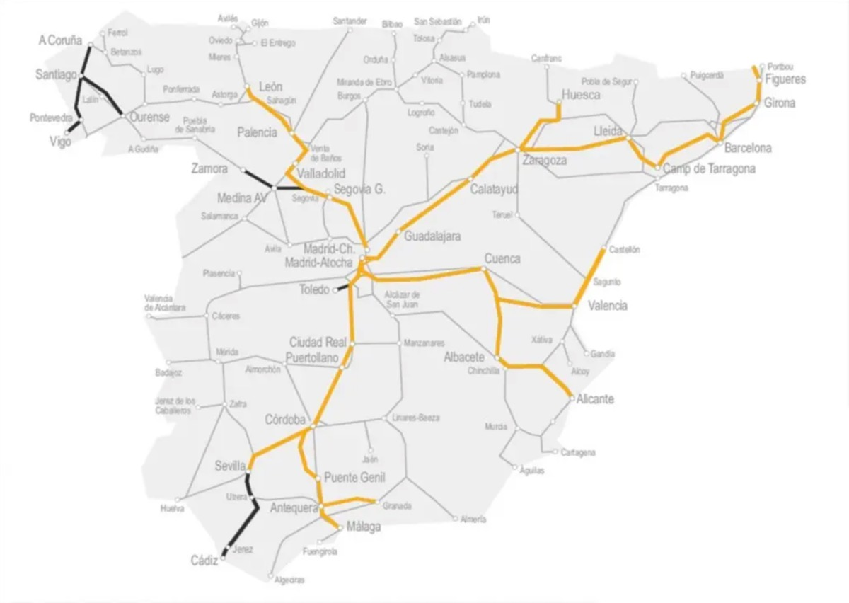 Renfe Ave route map