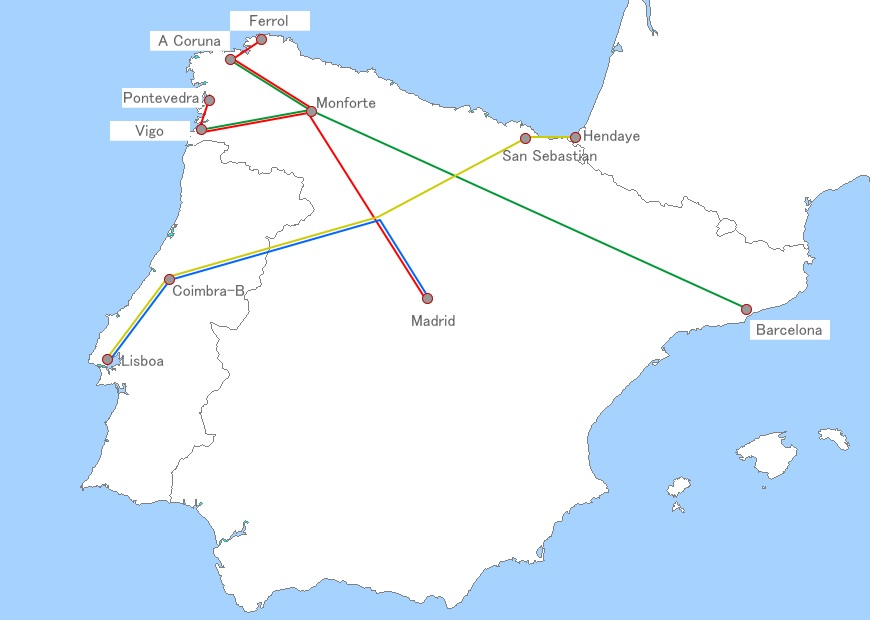 Renfe Trenhotel route map