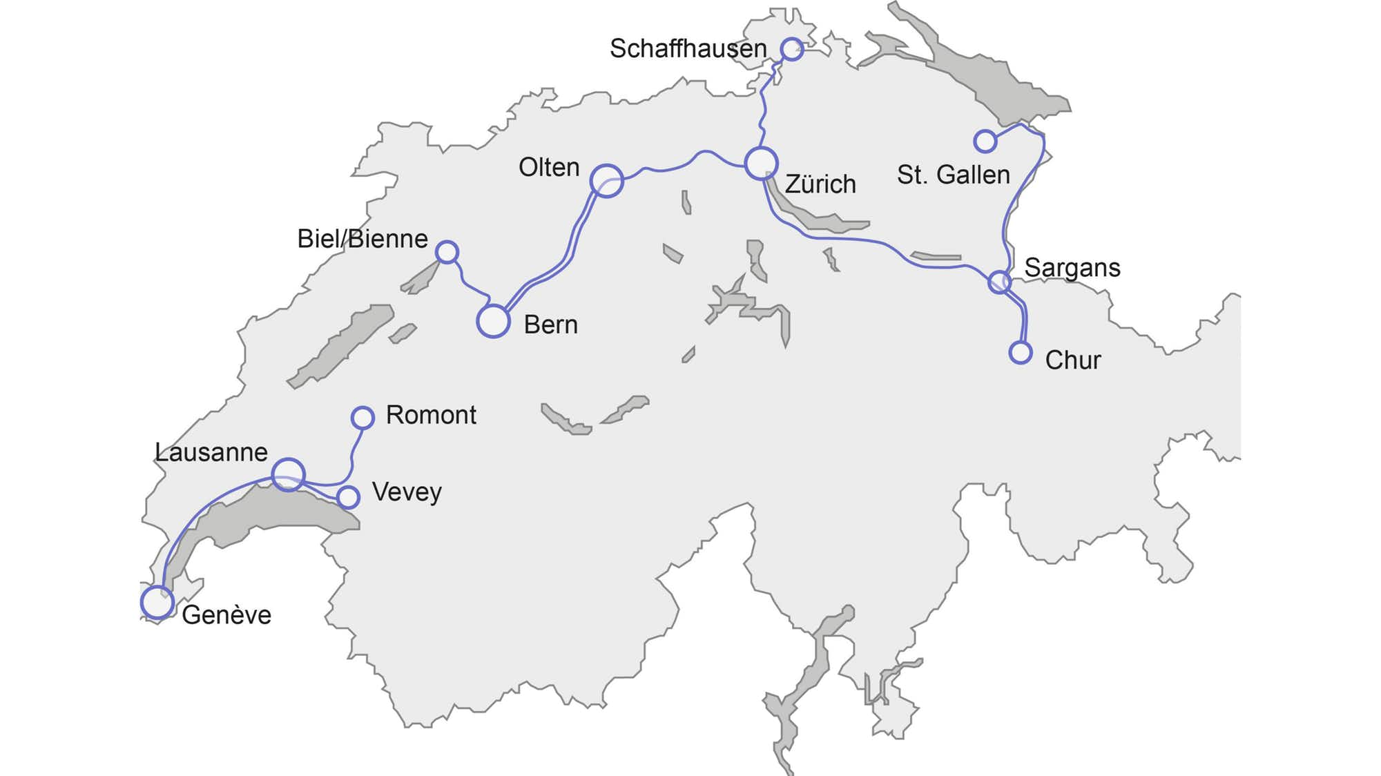 SBB InterRegio route map