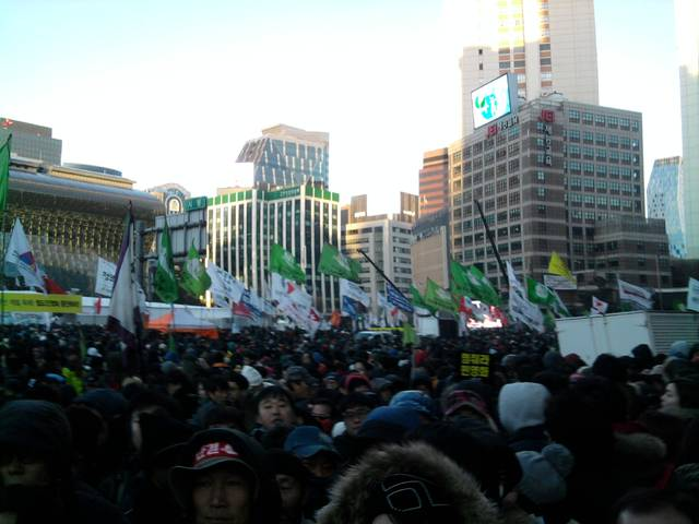 Protesters gathered in Seoul city hall plaza.