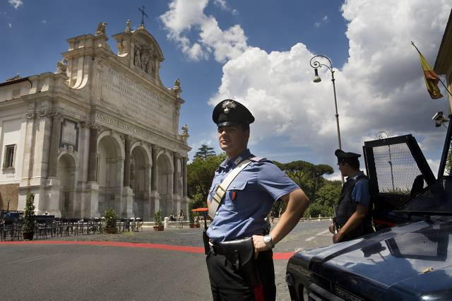 An Italian Carabiniere at guard duty in Monte Gianicolo