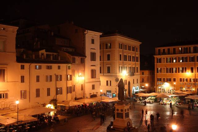 Campo de' Fiori is a popular drinking spot