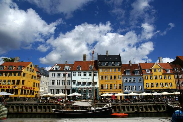 Nyhavn is a popular place to go for a drink in the summer