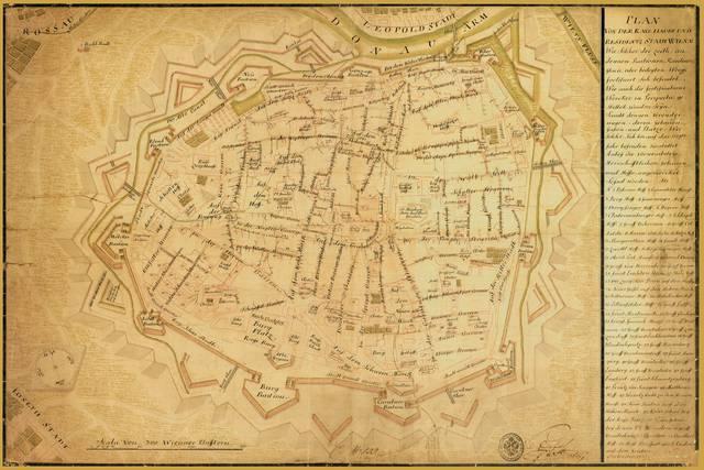 ウィーンの歴史的中心部のほとんどは1700年代初頭にすでに設置されています。後でリングに置き換えられた要塞に注意してください。