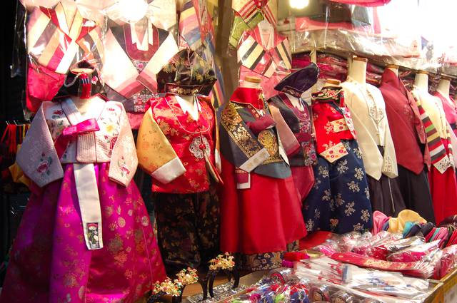 Hanbok, traditional Korean dresses at Dongdaemun market