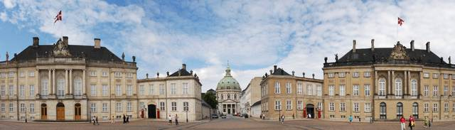 Moltke's Palace, Frederik's Church (The Marble Church), Levetzau's Palace (left to right) as seen from Amalienborg. Copenhagen, Denmark, Northern Europe.