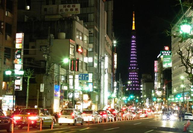 Roppongi at night, with Tokyo Tower in the distance