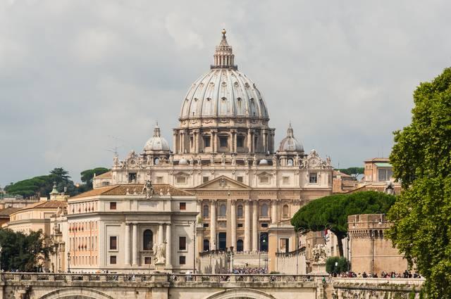 The Renaissance/Baroque opulent exterior of St. Peter's Basilica