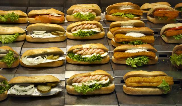 Viennese food offerings go far beyond Wienerschniztel - here is a selection of seafood sandwiches