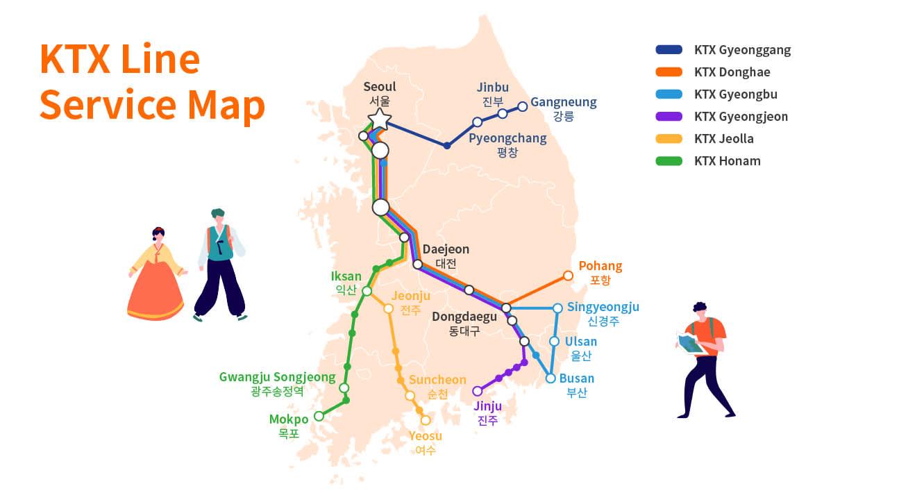 Korail KTX Route map