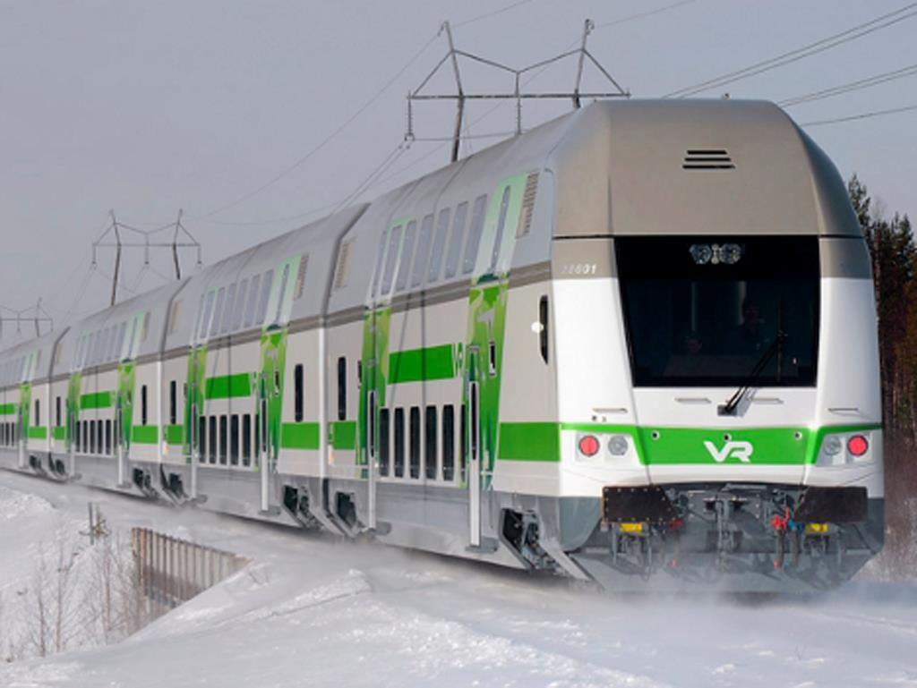 Finland VR train in winter