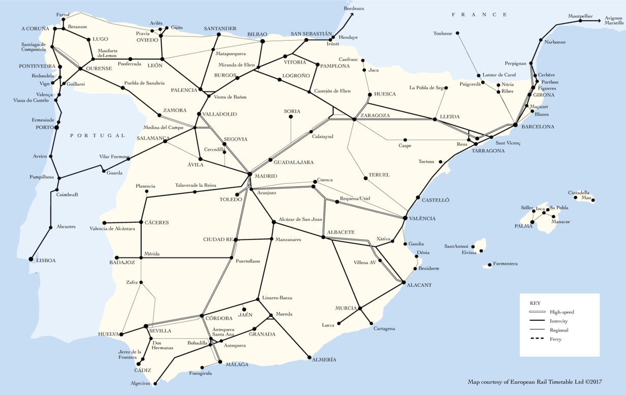 Renfe route map
