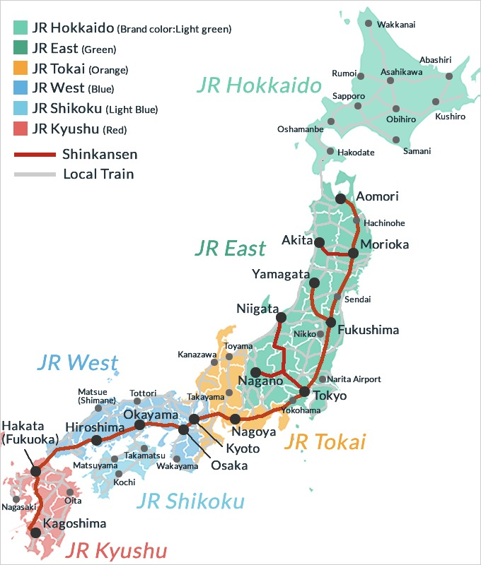 Japan Railway route map