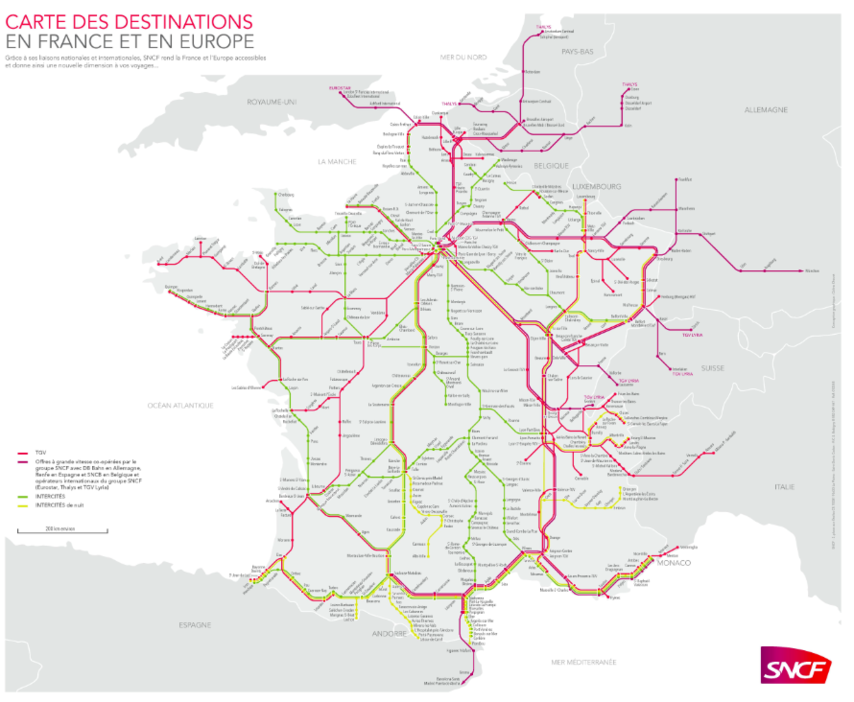 SNCF route map