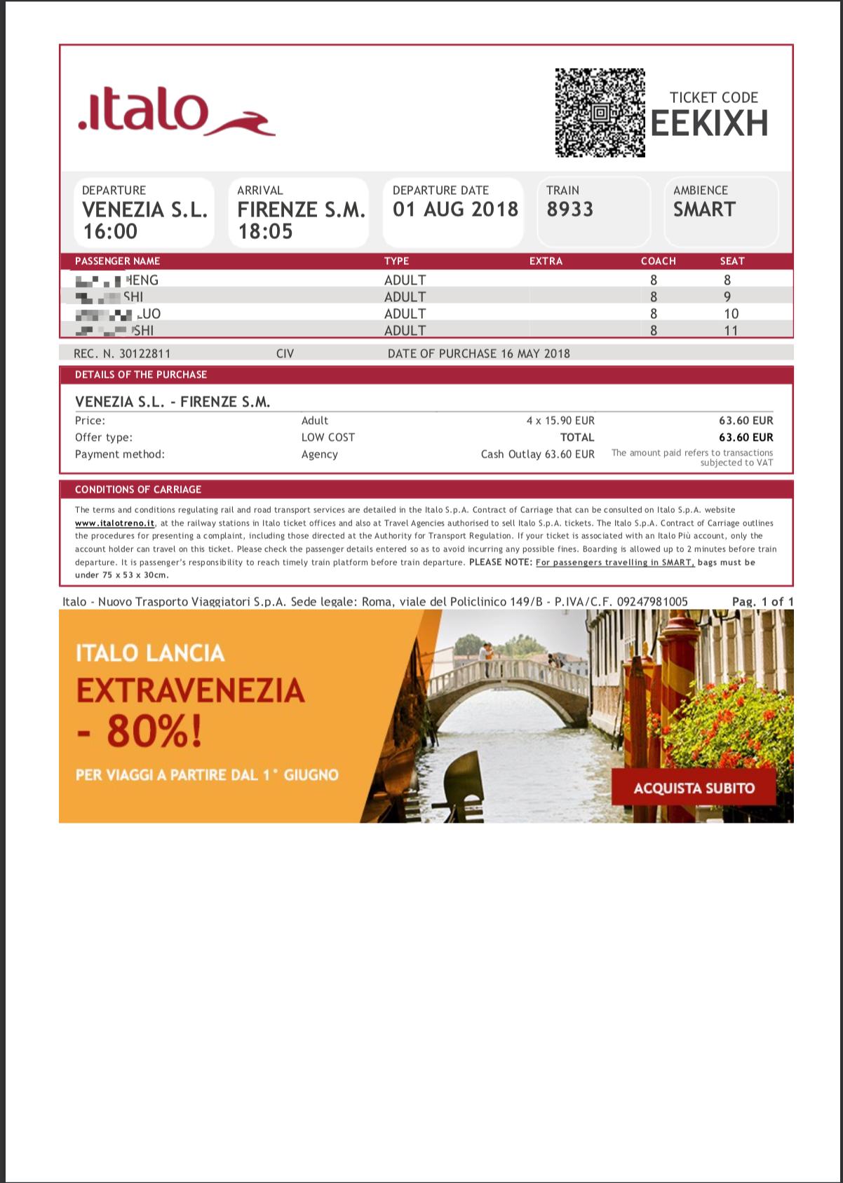 Italo e-ticket