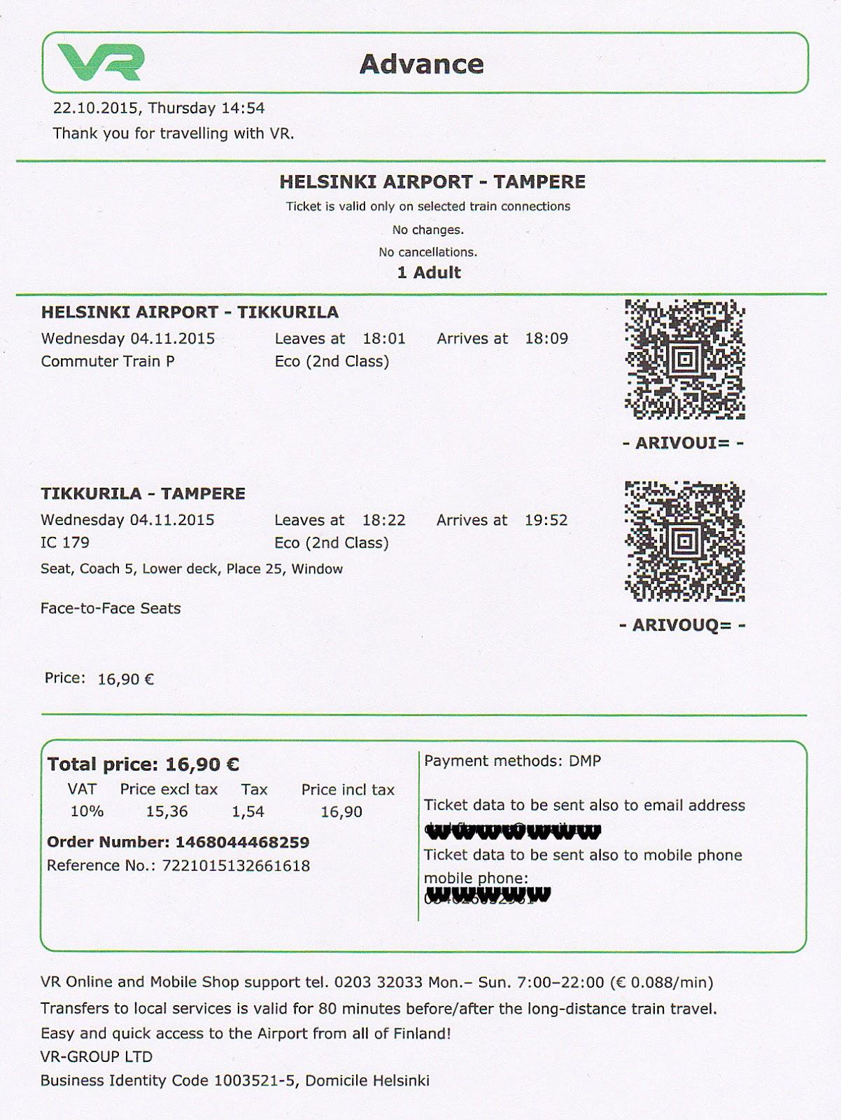 Finland VR e-ticket