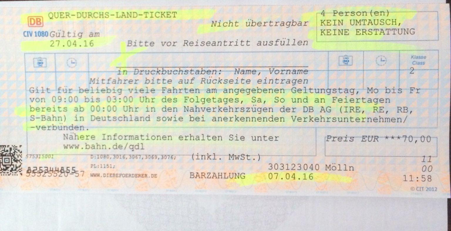 Germany Railway weekday ticket