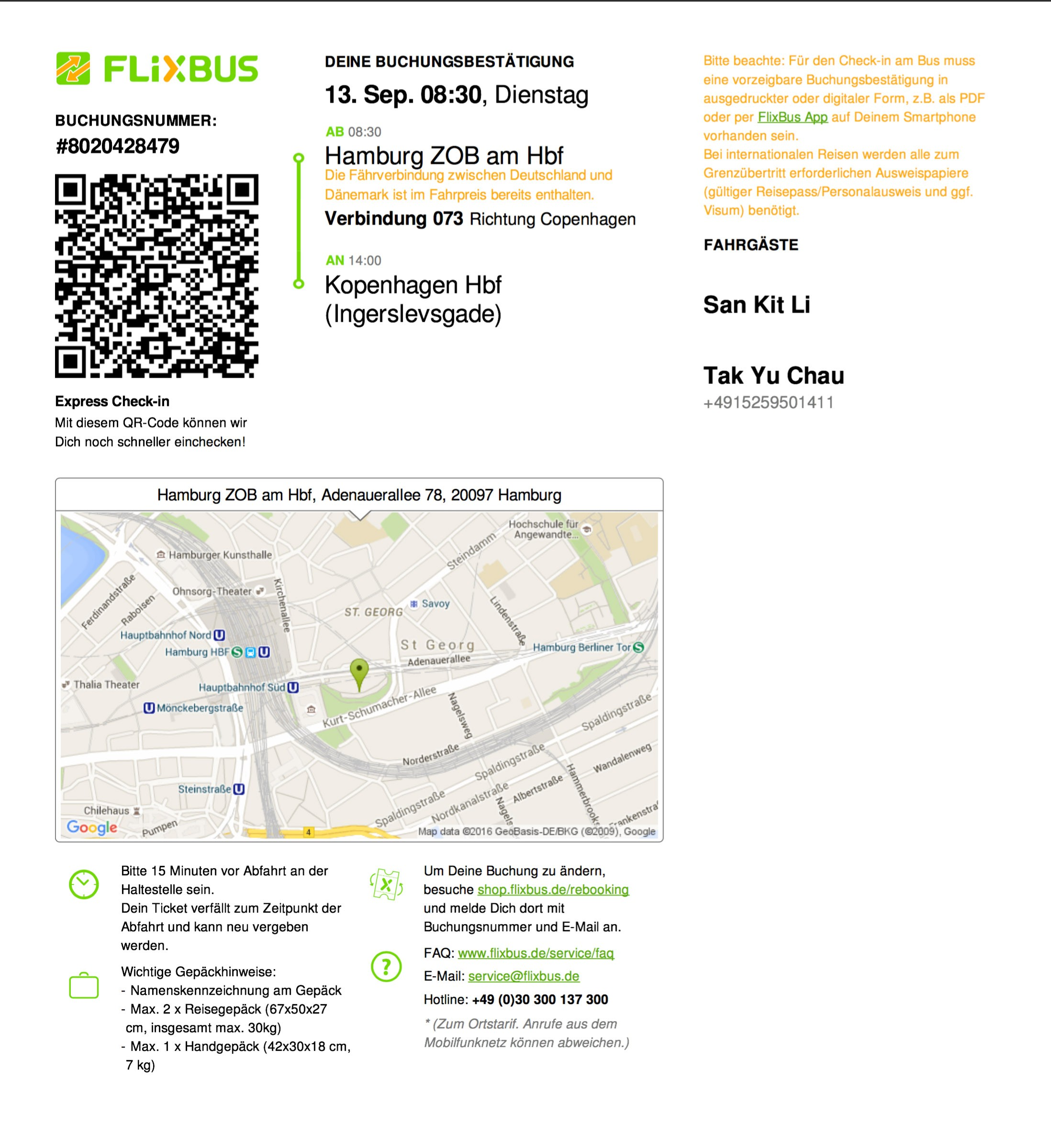 Flixbus e-ticket