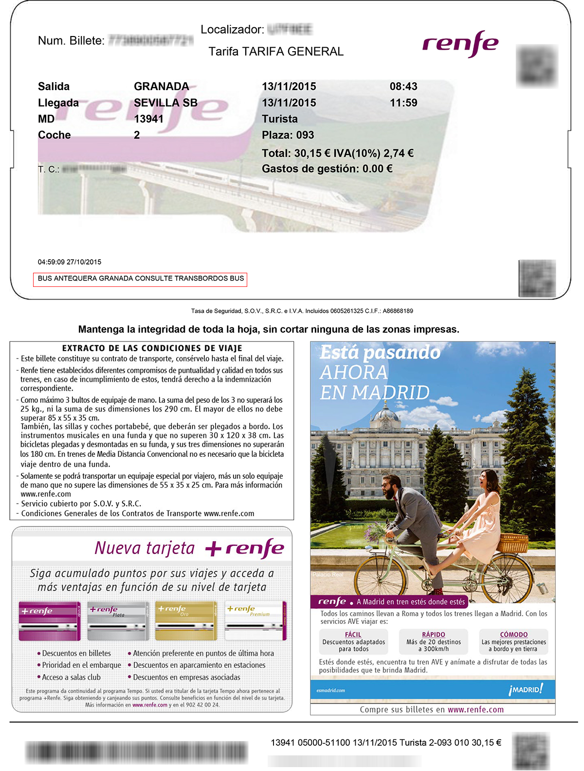 Renfe AVE Turista ticket